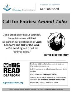 Big Read 2013-14 Call of the Wild Dearborn Animal Tales Flyer