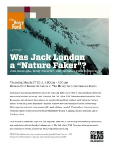 Big Read Lecture Flyer - Was Jack London a Nature Faker