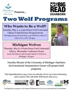 Big Read 2013-14 Flyer Dorothy McLeer wolf programs