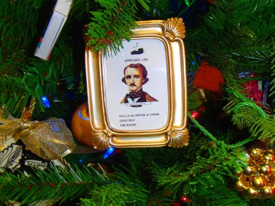 Poe ornament on tree donated from the Festival of Trees