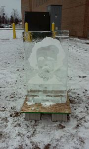 Big Read 2015-16 Photo ice sculpture at HFC Edgar Allan Poe