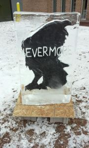 Big Read 2015-16 Photo ice sculpture at HFC raven