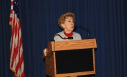 Library Director Maryanne Bartles speaks