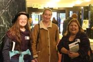 Emma Hetrick, Katie Hetrick, and Dearborn Board of Education President Roxanne Mcdonald