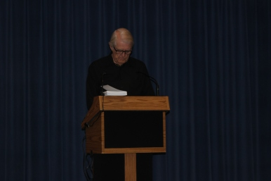 "Dearborn Library Foundation President Steven R. Roberts reading ""Captain Dewey and the Third Boat"""